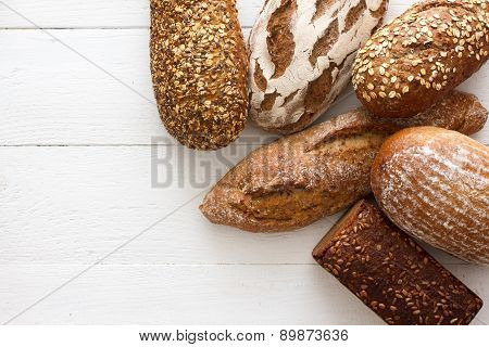 Mixed whole grain health breads, from above.