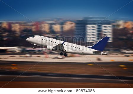 Airliner Taking Off From The Airport - Motion Blur