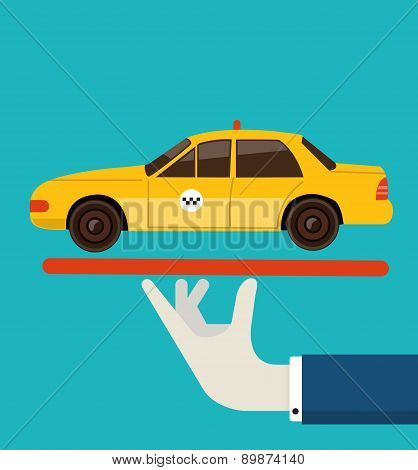Vector Illustration Of Order Taxi