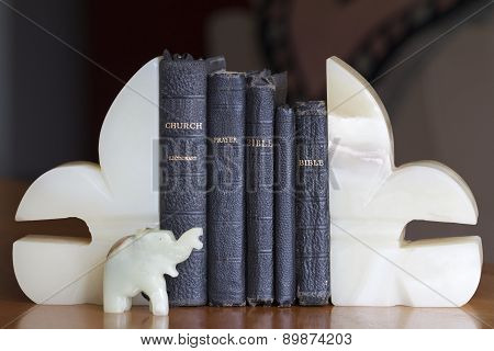 Old Books between Bookends