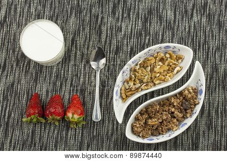 healthy breakfast, diet meal of cereal, fruit and nuts