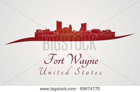Fort Wayne Skyline In Red
