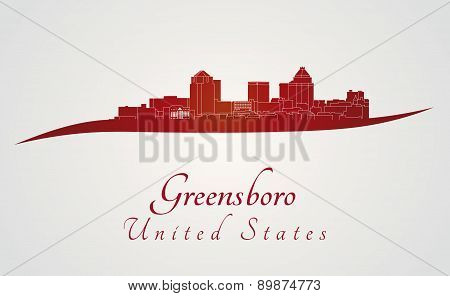 Greensboro Skyline In Red
