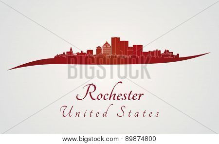 Rochester Skyline In Red