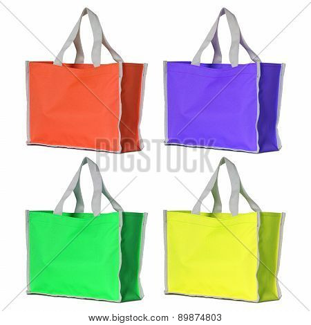 Set Of Colorful Shopping Bag Isolated On White With Clipping Path