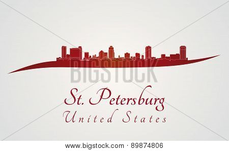St. Petersburg Skyline In Red
