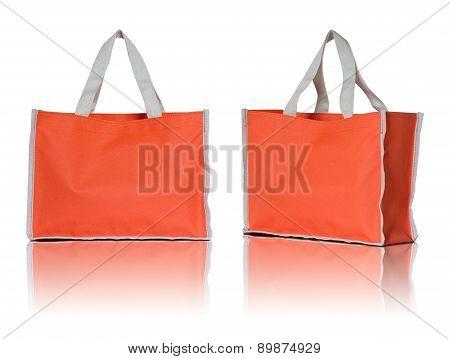 Orange Shopping Bag On White Background