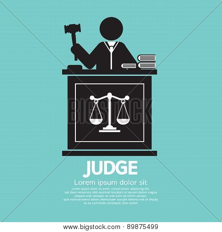 Judge With Gavel Symbol Graphic.