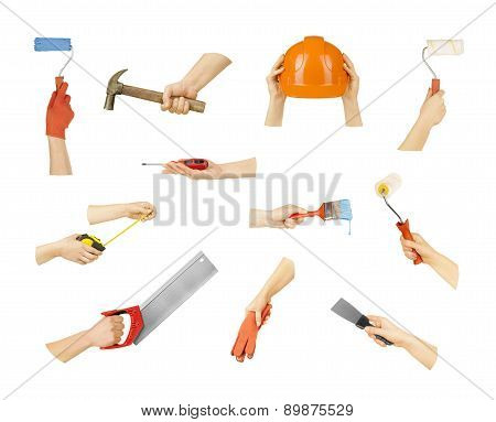 Collection Hands With Construction Tools