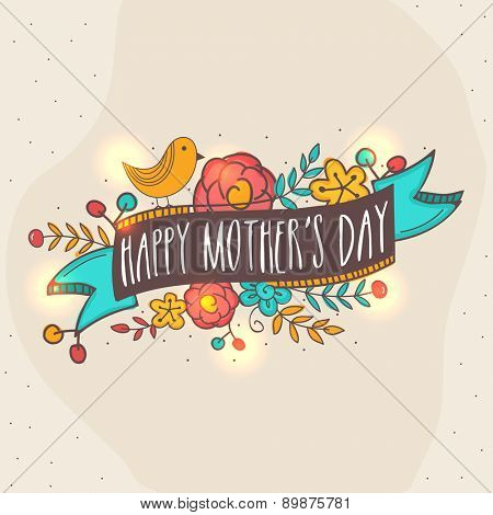 Happy Mother\'s Day celebration greeting card with colorful flowers, ribbon and bird on vintage backg