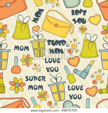 Happy Mother's Day pattern with different elements and complement.