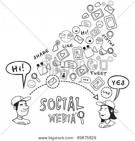 Collection of different social media or communication icons on white background.