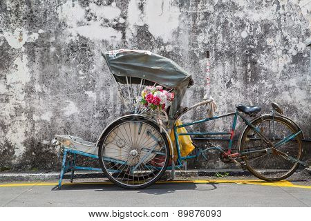 George Town,penang ,malaysia- Circa March 26, 2015: Trishaw Vintage Style Wait For Service Traveller