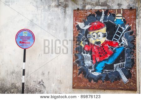 George Town,penang ,malaysia- Circa March 26, 2015: Public Street Art Name Minion On The Wall By Loc
