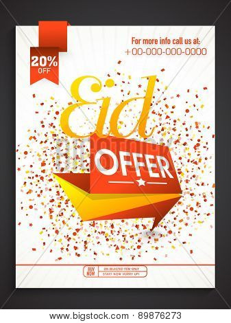 Stylish sale poster, banner or flyer design with discount offer for Muslim community festival, Eid celebration.