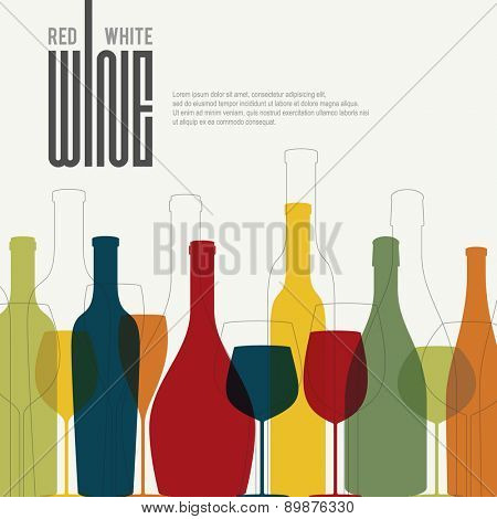 Wine list design. With colored bottle and wineglass
