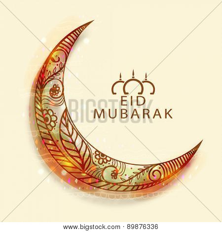 Shiny floral design decorated creative moon for Muslim community festival, Eid celebration.
