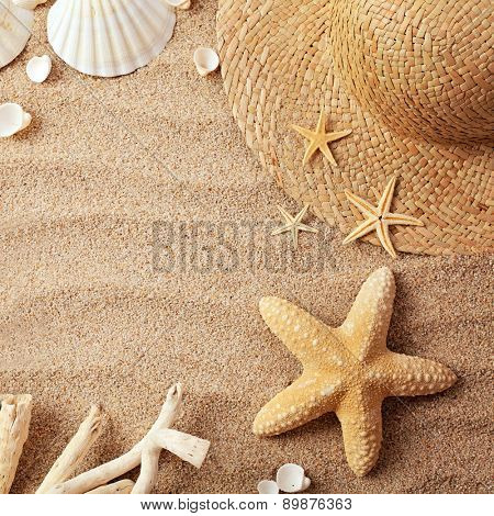 beach accessories on wooden board
