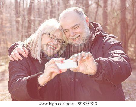 Happy Senior Elderly Couple Old People Selfie