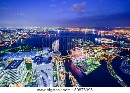 Yokohama, Japan waterfront cityscape.