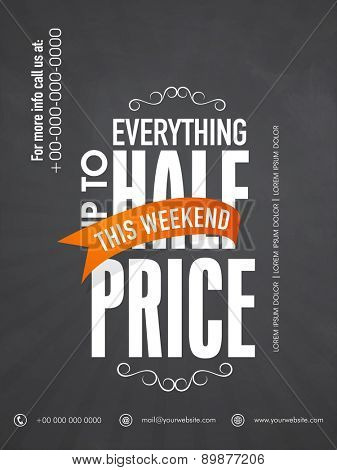 Stylish sale flyer, banner or poster design with half price discount on everything.