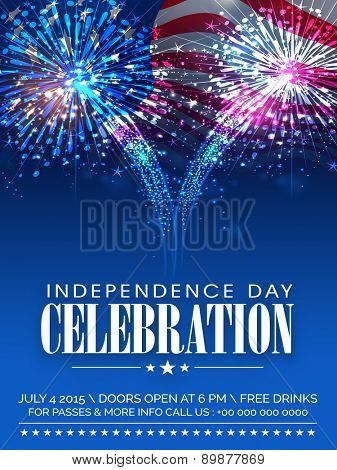 American Independence Day celebration beautiful invitation card with shiny fireworks on waving national flag background.