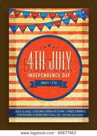 Vinatge invitation card decorated with national flag colors bunting for 4th July, American Independence Day celebration.