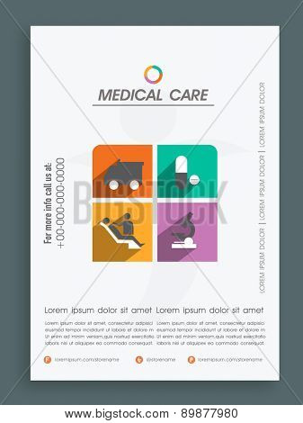 Creative template, banner or flyer design for Health and Medical.