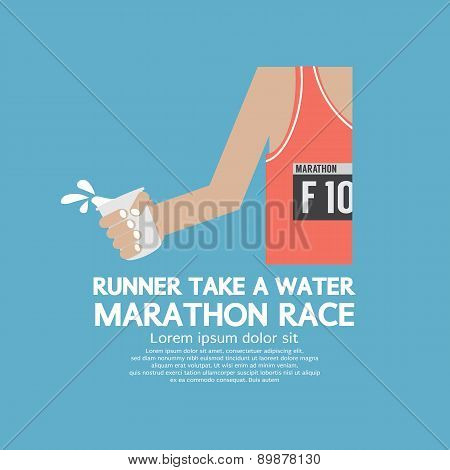 Runner Take A Water In A Marathon Race.