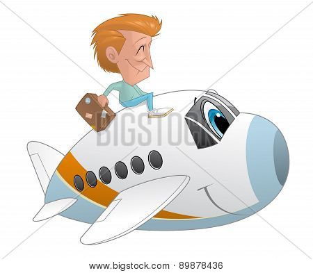 Traveler With The Suitcase On An Airplane Character