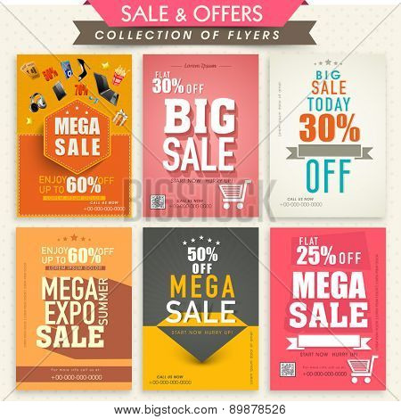 Collection of stylish Mega Sale Flyers with attractive discount offers.