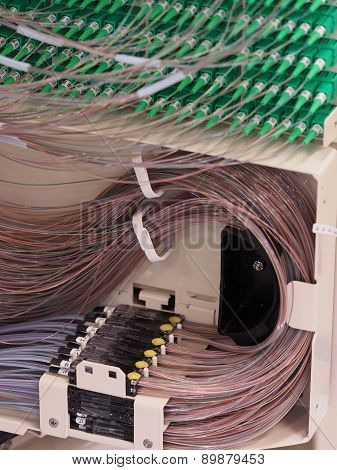 Ribbon to fiber transition and fiber routing in the back of a fiber distribution hub