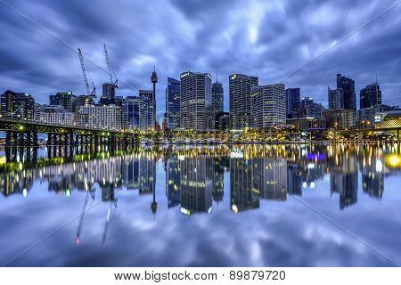 Long Exposure Fo Sydney, Australia - May 7, 2015 : Night Scene Of Darling Harbour