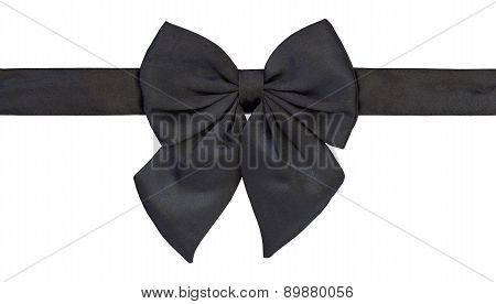 Black Bow Tie Isolated On White With Clipping Path