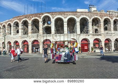 People Pose At The Arena Of Verona