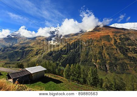 Early autumn in the Austrian Alps. A beautiful sunny day in the valley Grossgloknershtrasse