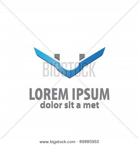 Design logo icon template with letter U. abstract wing