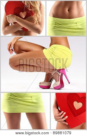 collage of woman body with shoes and miniskirt
