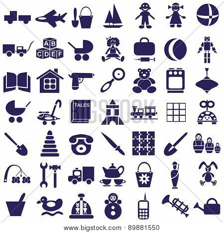 Toys Icons On White