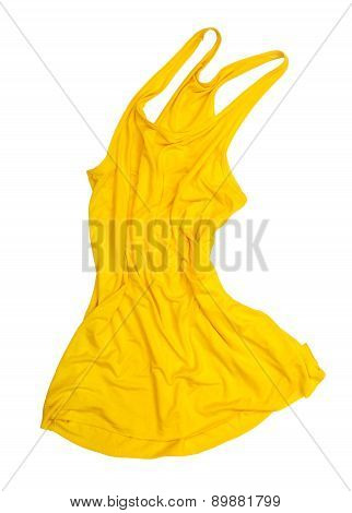 Bright Yellow Singlet In The Air On A White Background