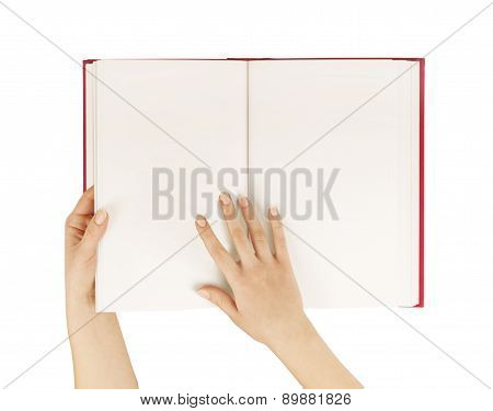 Hands Hold The Red Book(diary) Empty Spread Isolated White.