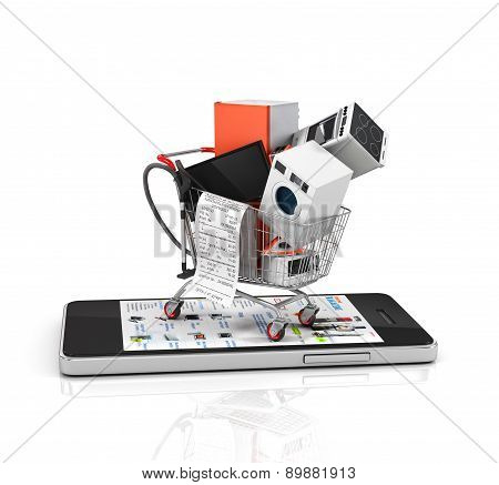Online Store. Large Home Appliances With A Check In The Shopping Cart On The Phone. E-commerce Conce