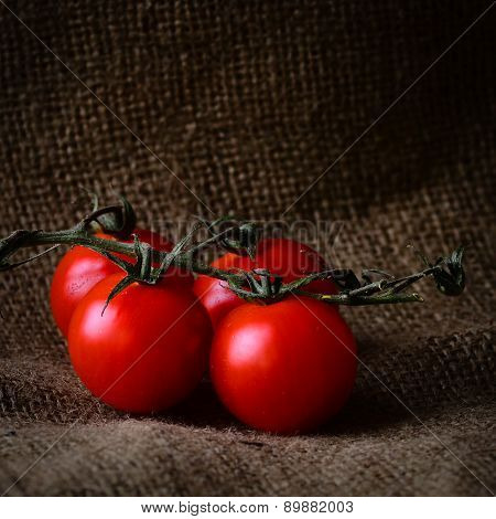 Rustic Style Fresh Tomatoes On The Vine