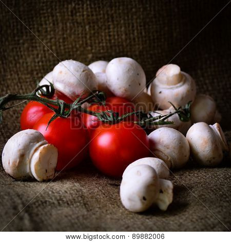 Rustic Tomatoes And Mushrooms.