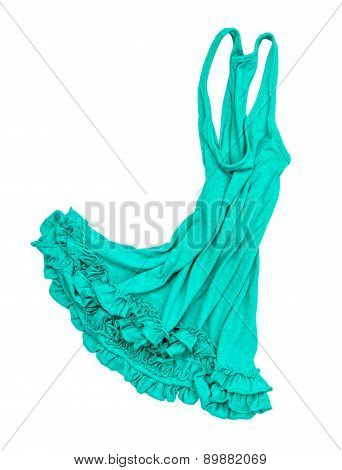 Green Jersey Dress Falls In The Air On A White Background