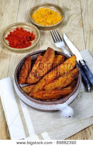 Roast Potatoes With Spices In Ceramic Dish