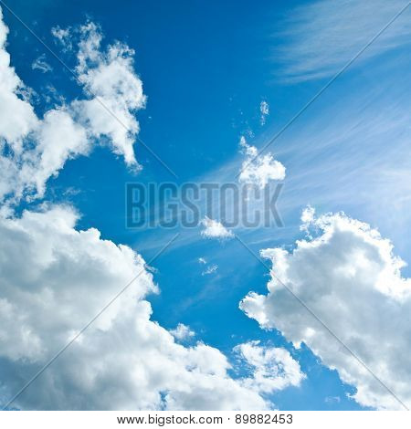 Beautiful White Clouds In The Clear Blue Sky, The Purity Of Nature