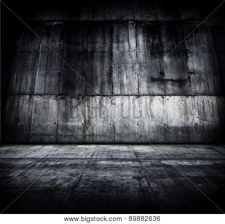 Huge concrete room or compound.