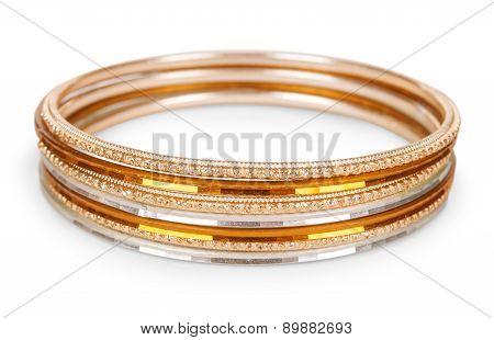 Old Vintage Copper Bracelet On Isolated White Background