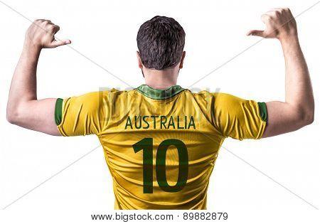 Australian soccer player on white background